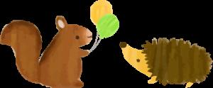 リスとハリネズミ